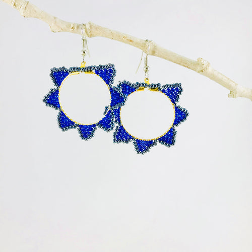 All Dressed Up Hoop Earrings, Deep Blue