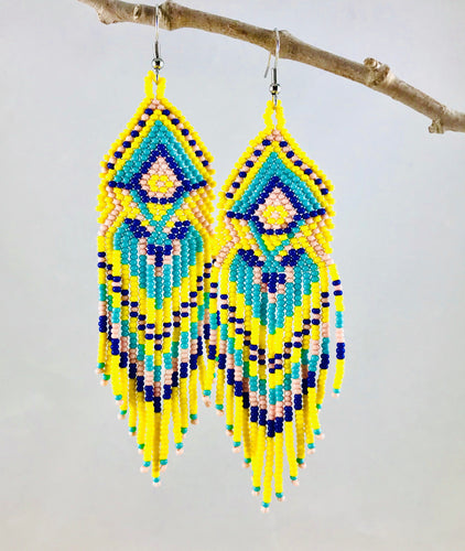 Boho Vibes Earrings, Yellow/Aqua