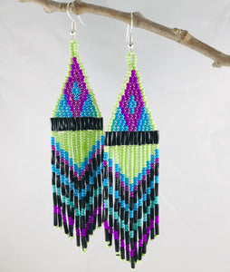 Ain't No Mountain High Enough Earrings, Lime/Purple