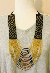 Woven Strands Necklace, Navy/Gold