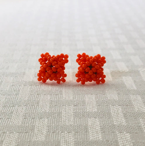 Crisscross Cube Stud Earrings, Orange