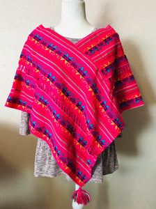 Woven Poncho, Bright Pink