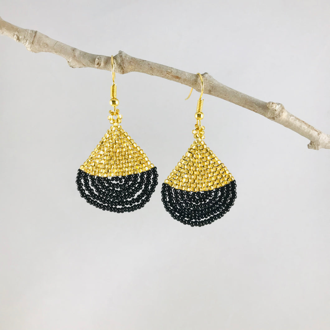Tiny & Perfect Earrings, Gold/Black