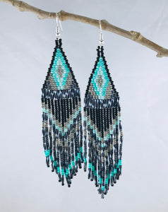 Ain't No Mountain High Enough Earrings, Black/Turquoise