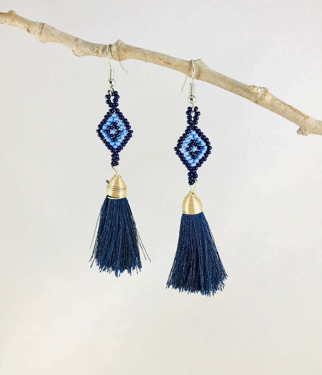 Diamond Tassel Earrings, Black/Blue