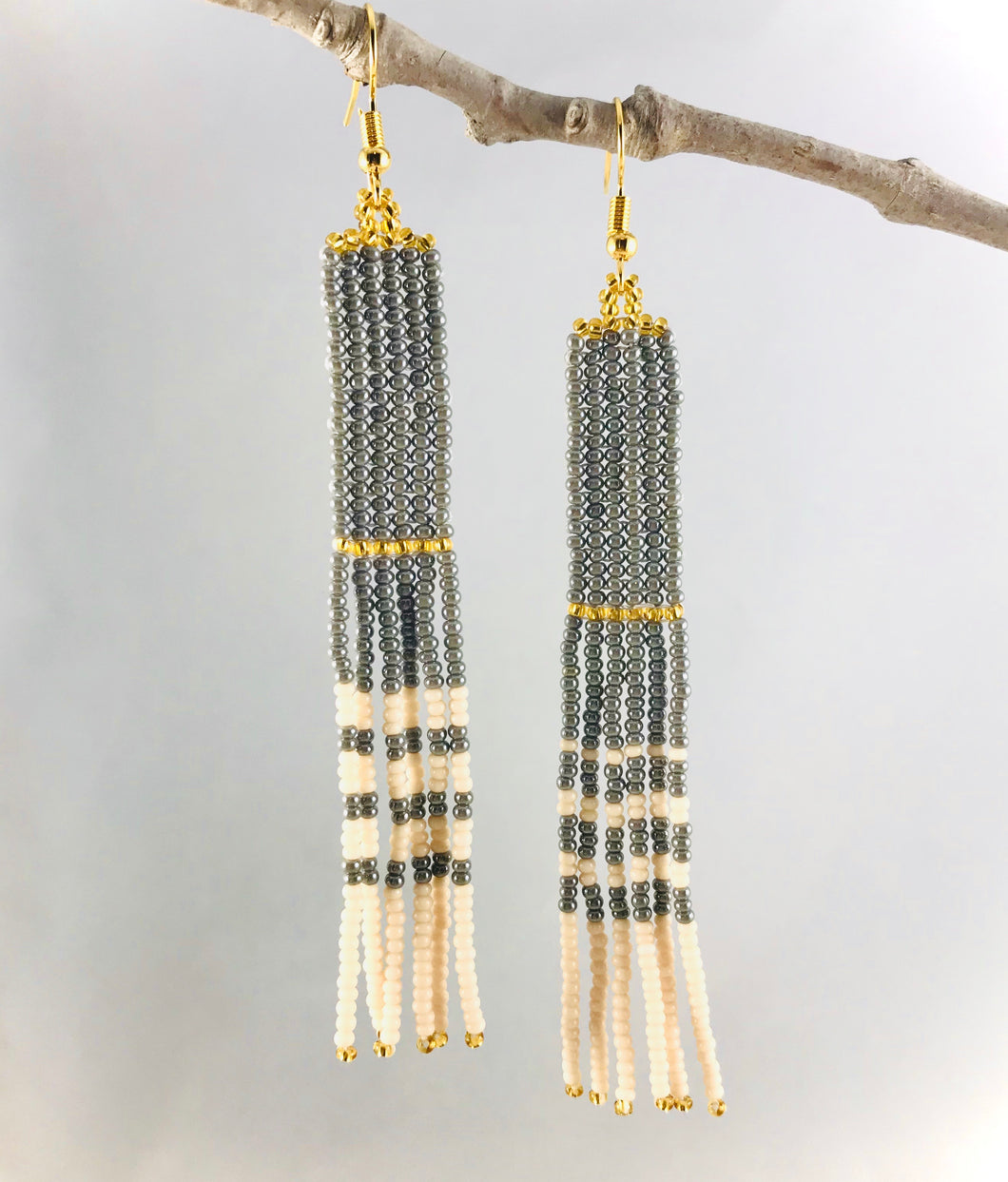 Simply Perfect Earrings, Grey/Gold/Cream