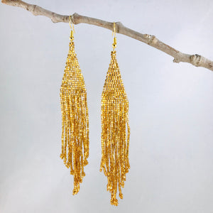 Elegant Evening Earrings, Bright Gold