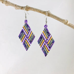 Diamond Weave Earrings, Purple/Lime Green