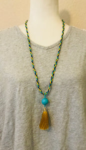Bohemian Days Necklace, Turquoise/Yellow/Blue