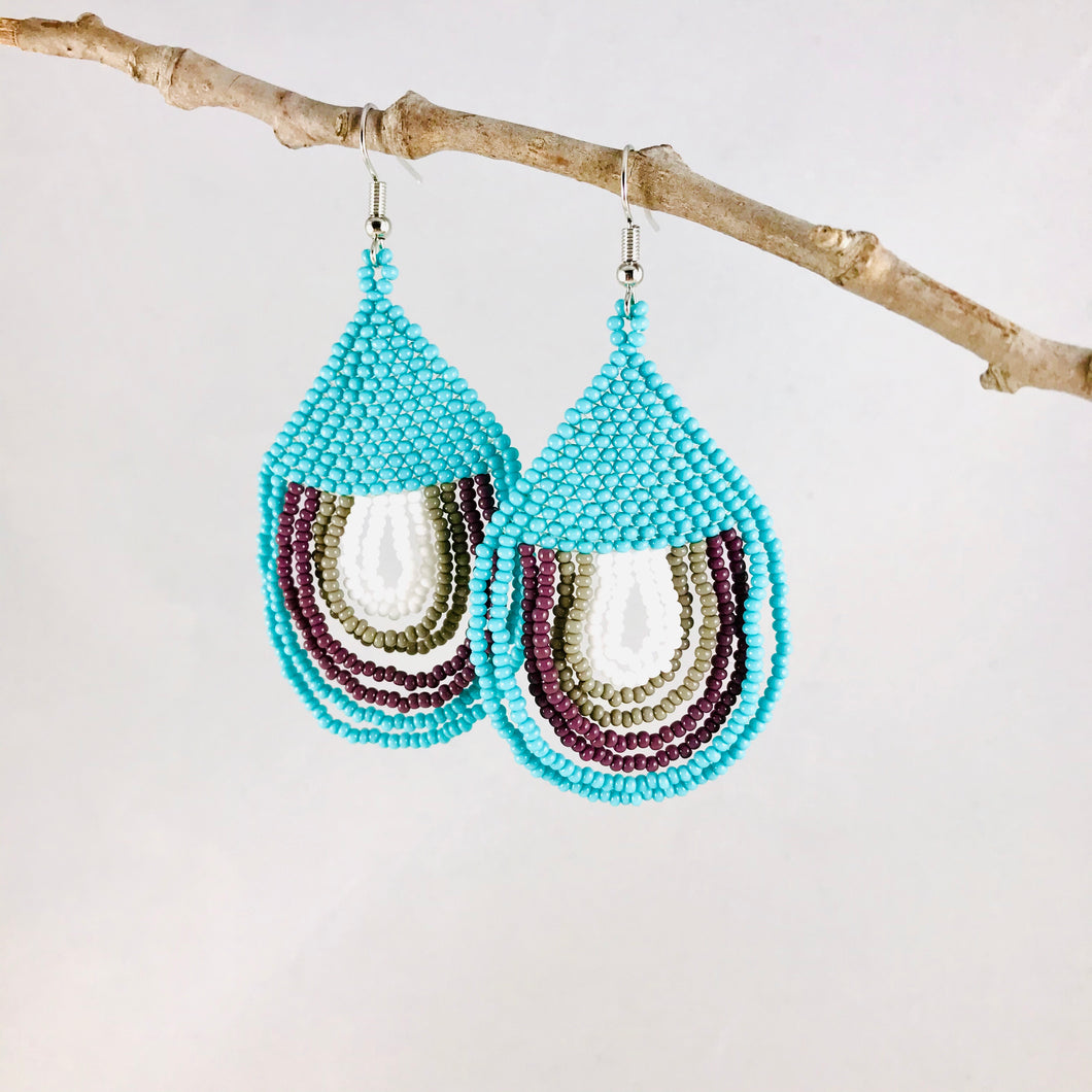 Happy Days Earrings, Turquoise/Gray/White