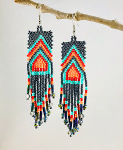 Chevron Tassel Earrings, Charcoal/Turquoise/Orange