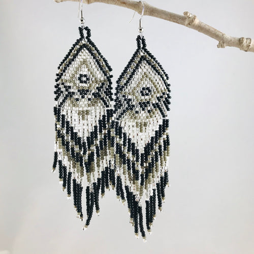 Boho Vibes Earrings, Black/Silver