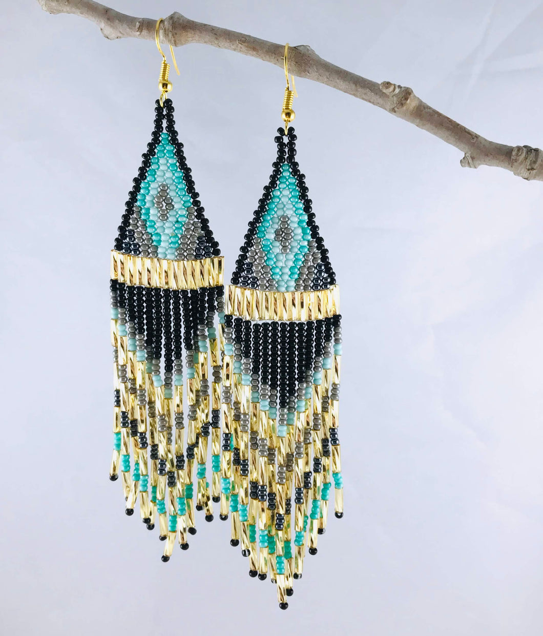 Ain't No Mountain High Enough Earrings, Gold/Black