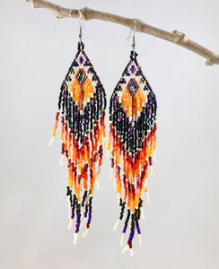 Arizona Sunset Earrings, Dk Orange/Iridescent Dk Purple
