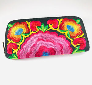 Hand Embroidered Clutch, Bright Pink/Red
