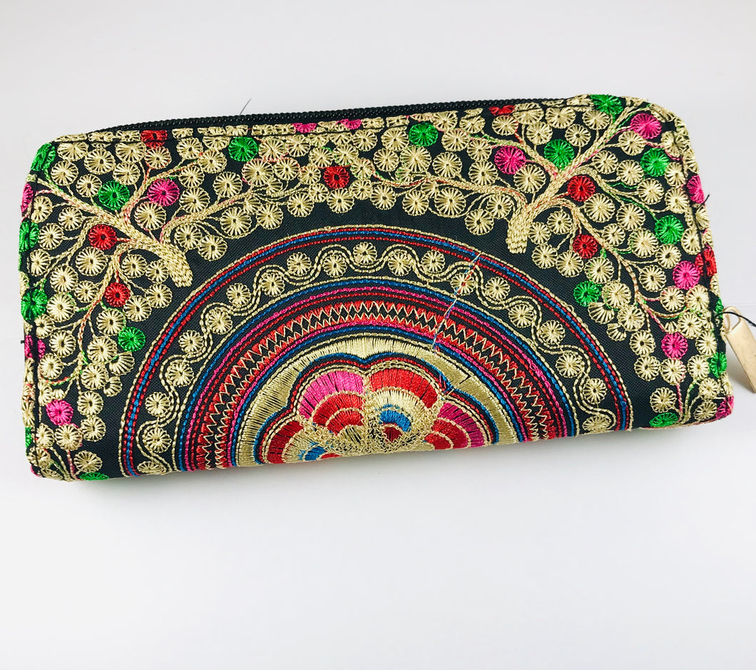 Hand Embroidered Clutch, Gold/Pink