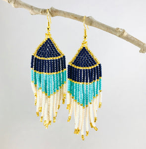 Bellisima Earrings, Navy/Aqua/Cream