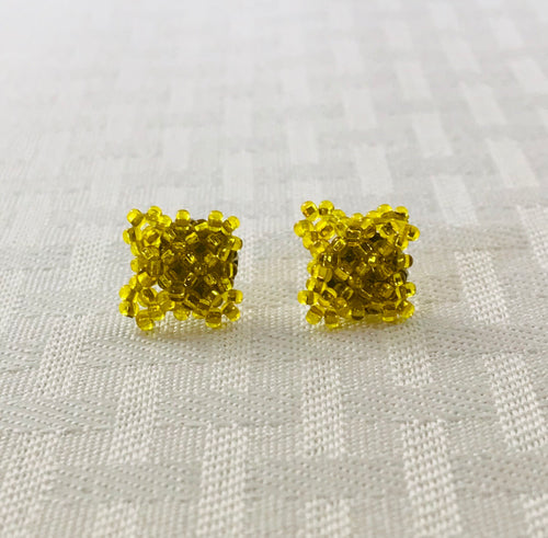Crisscross Cube Stud Earrings, Shiny Yellow