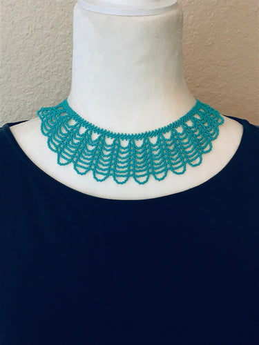Scallop Collar Necklace, Turquoise