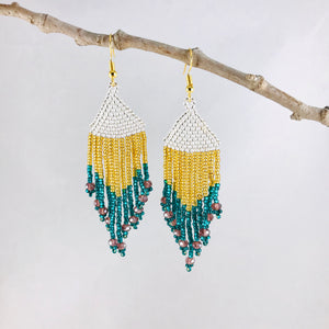 Color Block Fringe Earrings, Silver/Teal/Gold