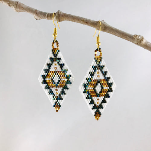 Aztec Dreams Earrings, Gold/White