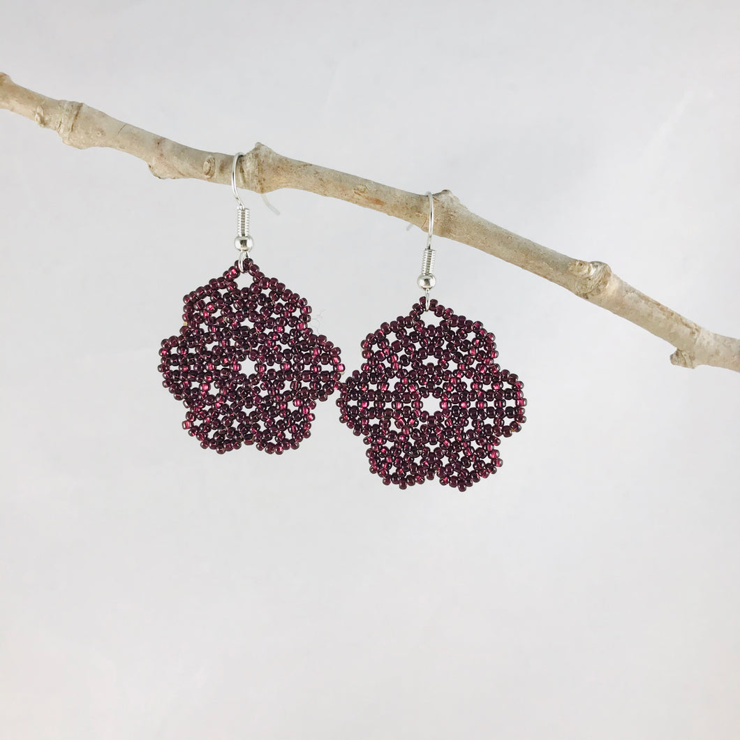 Florecita Earrings, Shiny Dark Purple