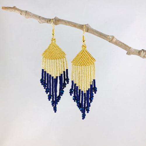 Color Block Fringe Earrings, Dk Gold/Lt Gold/Navy