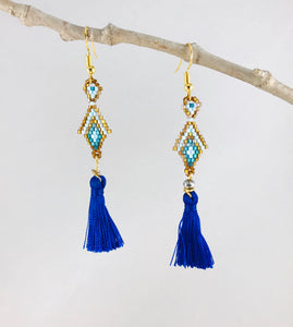 Princesa Earrings, Small, Blue