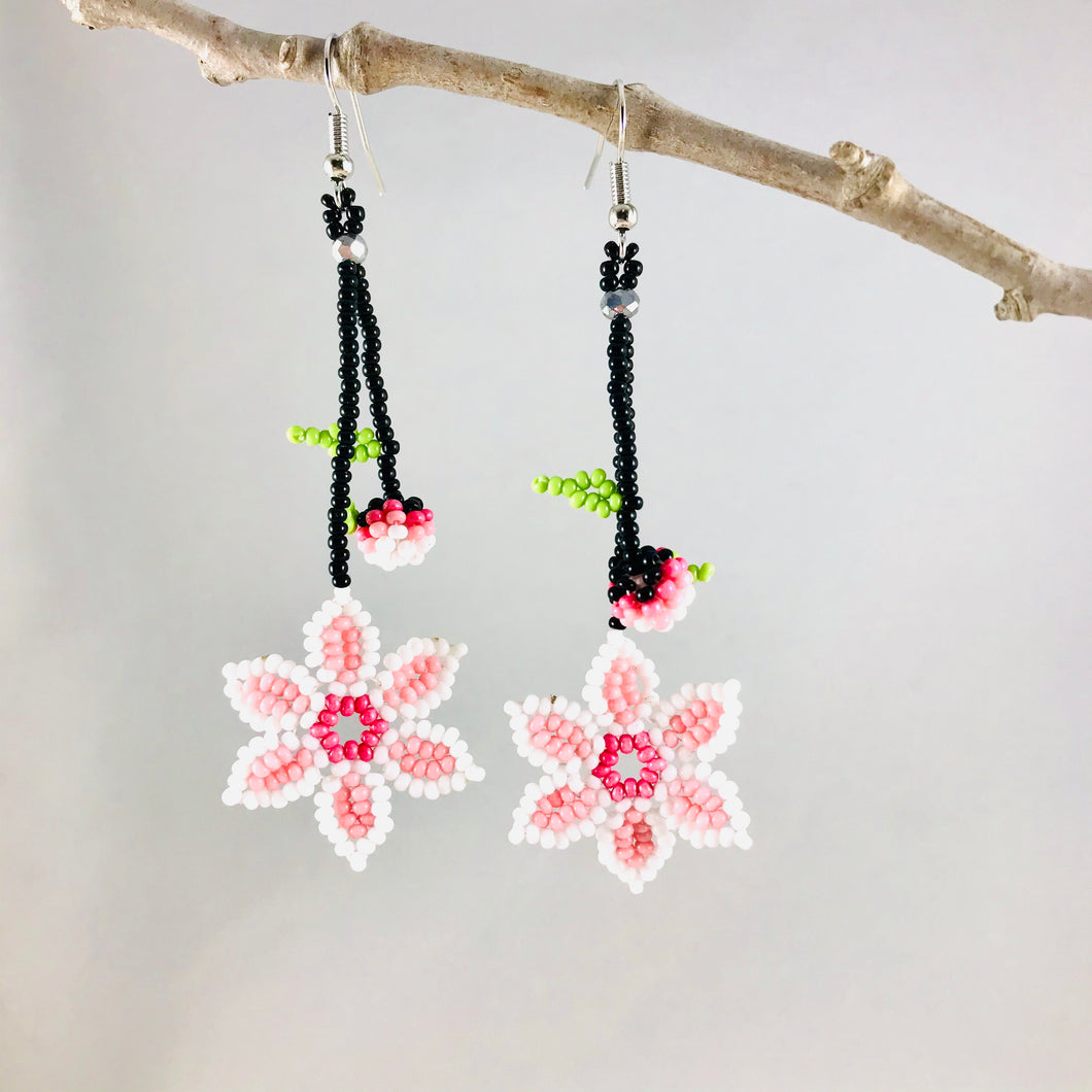 Promise of Spring Earrings, White/Pink