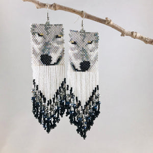 Call of the Wild Earrings, White/Black