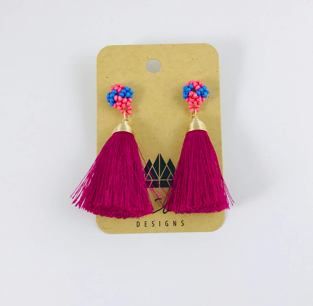 Princesa Tassel Earrings, Plum
