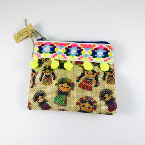 Traditional Print Coin-purse, Natural/Yellow