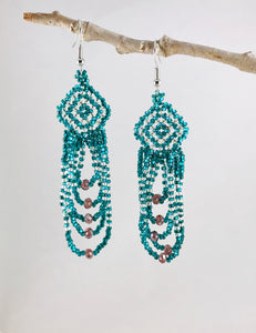 Everyday Sparkle Earrings, Teal/Silver