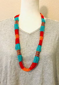 Rayas Necklace, Red/Turquoise/Orange