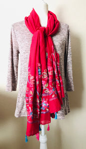 Embroidered Scarf, Deep Red