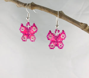 Mariposa Earrings, Bright Pink