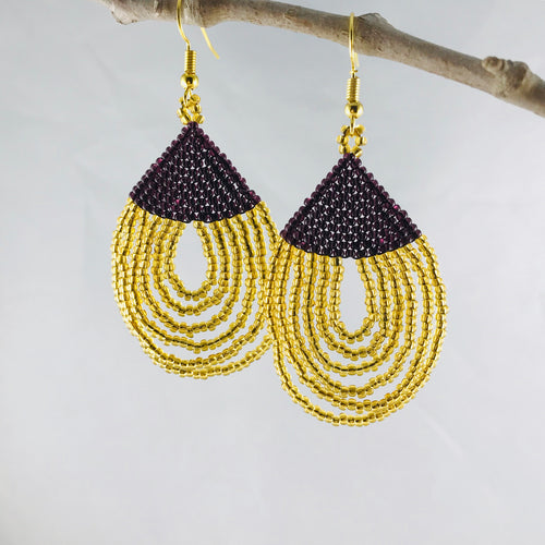 Dainty Loops Earrings , Black/Bright Gold