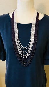 Color Block Necklace, White/Iridescent Purple