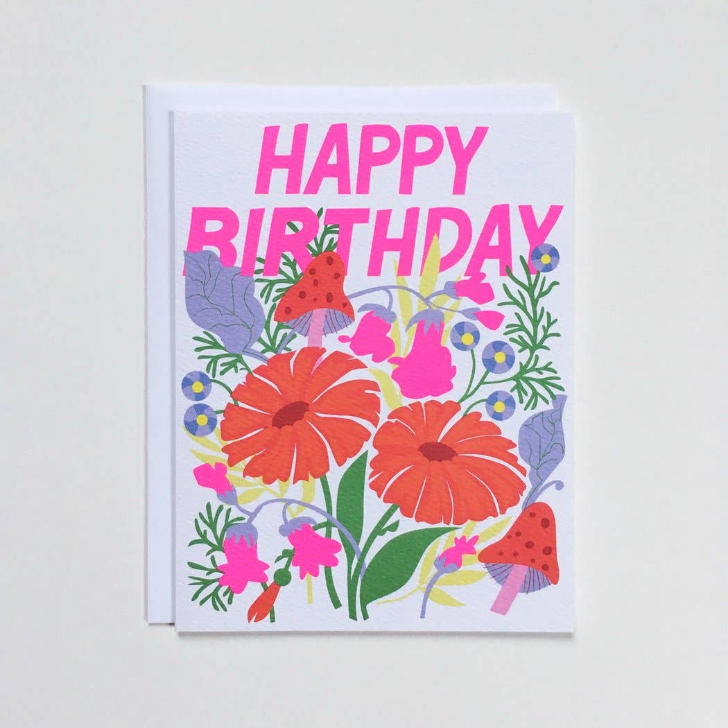 Happy Birthday Note Card With Mushrooms And Florals