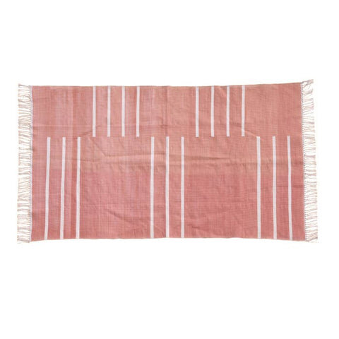 Linear Peach Dhurrie Rugs