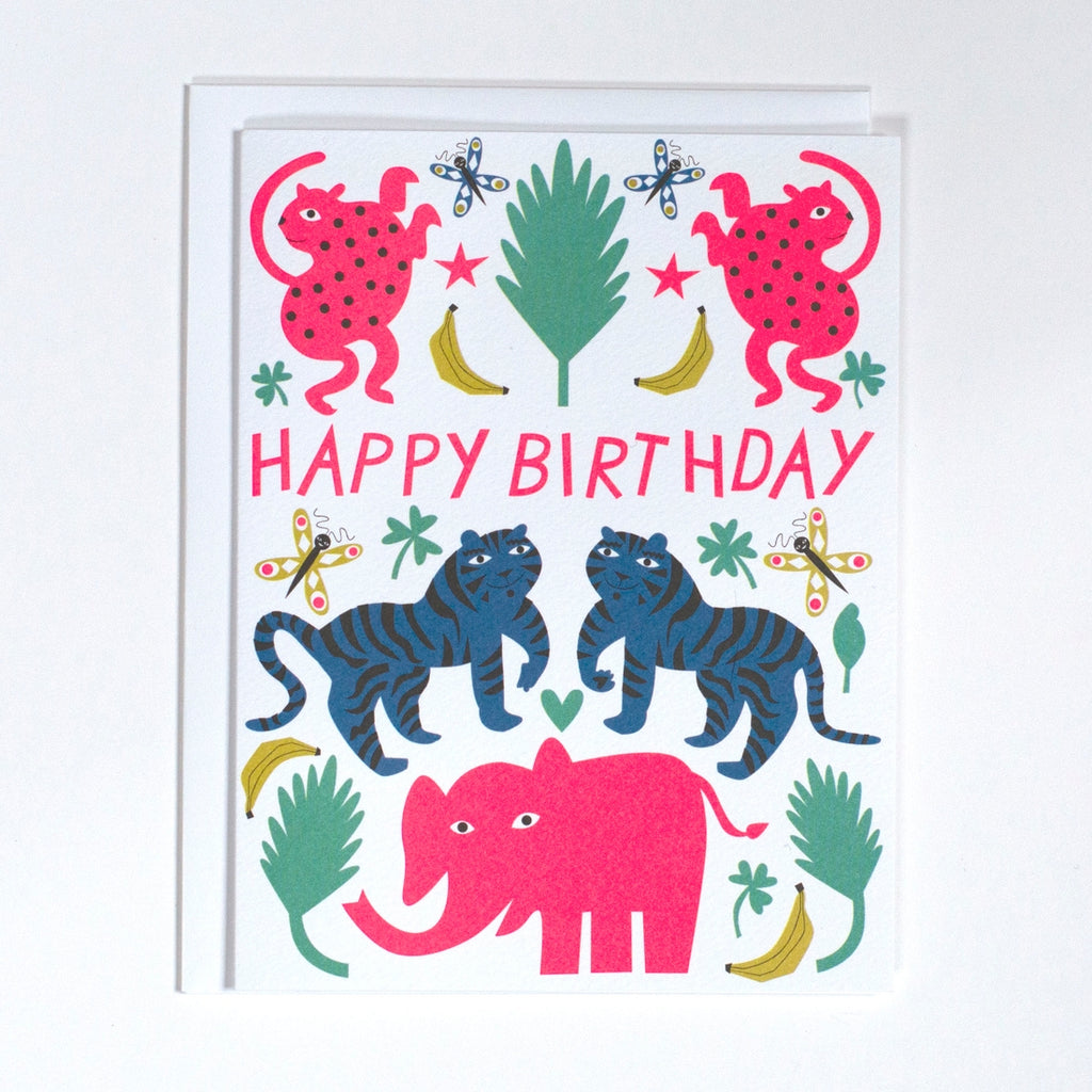 Pink Elephant Birthday Card