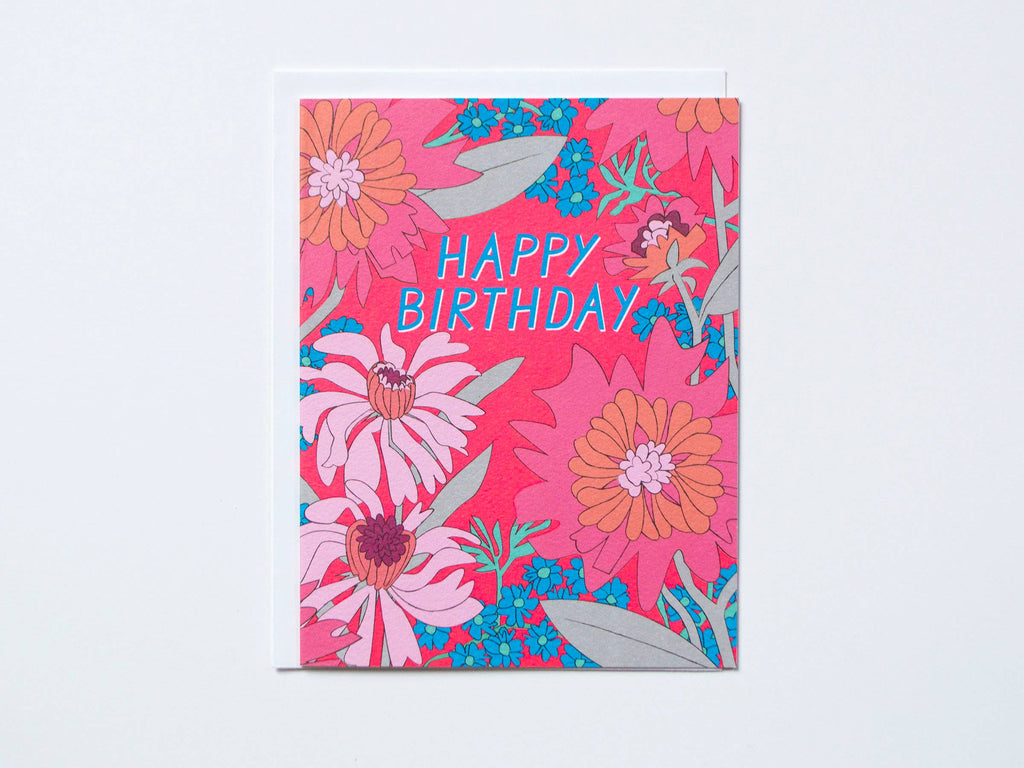 Happy Birthday 60's Floral Note Card