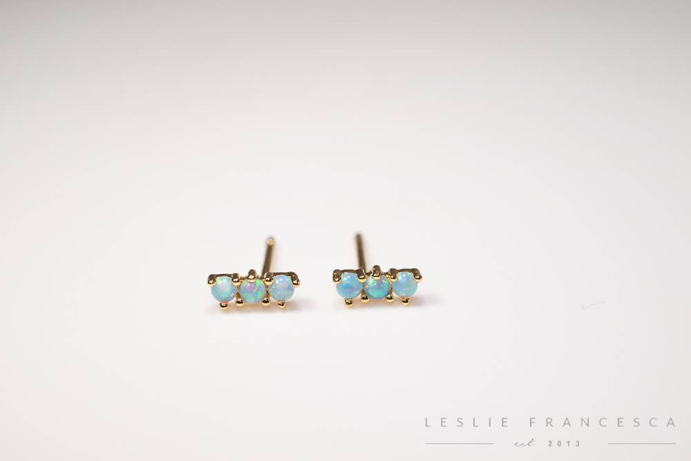 Mini Triple Royal Sky Blue Opal Studs