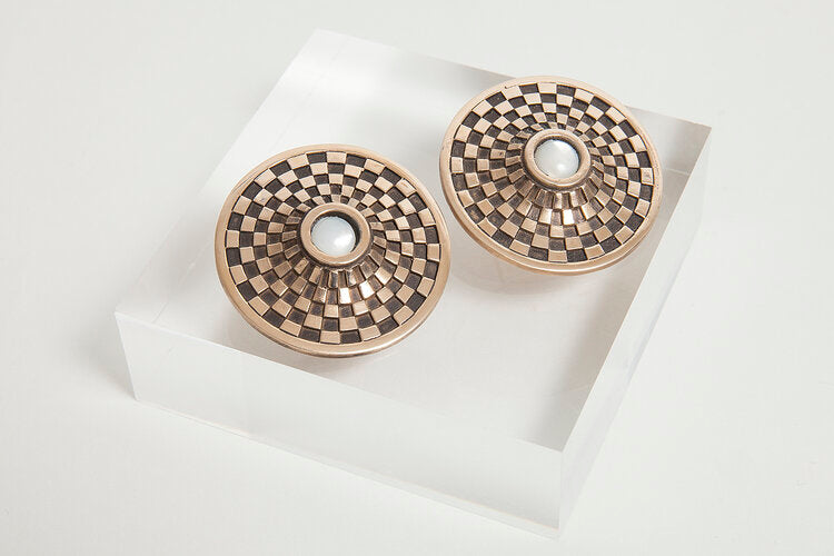 Mother of Pearl Checkerboard Shield Earrings