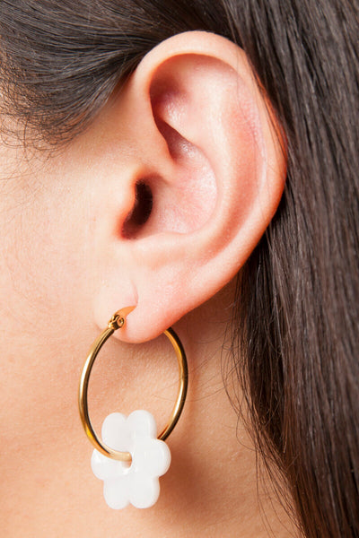 Acetate and Gold Plated Daisy Hoop Earrings
