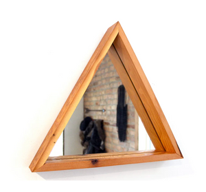 Large Wooden Triangle Mirror