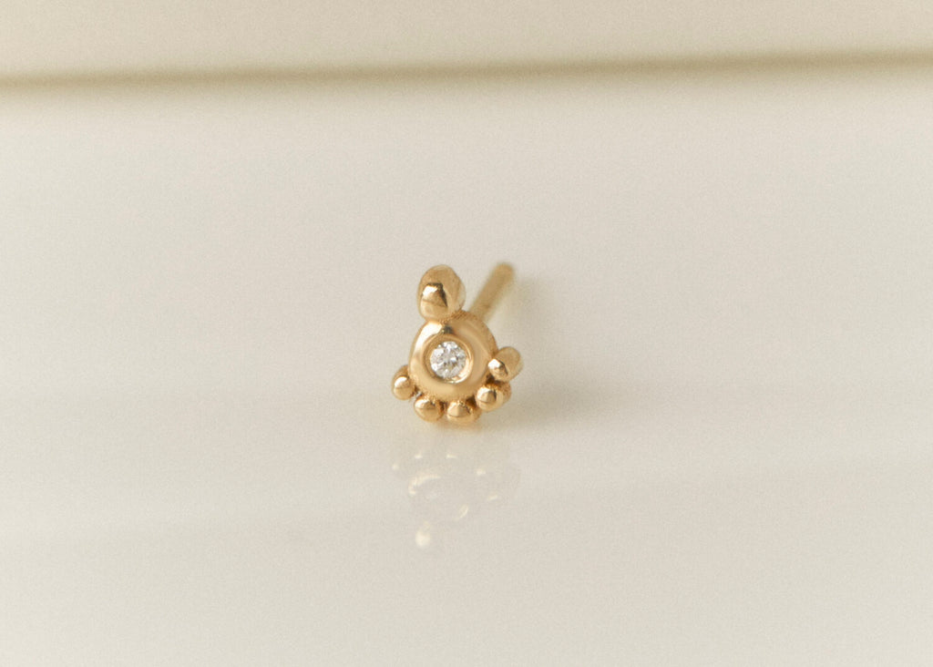 Pompeii Gold and Diamond Stud Earring