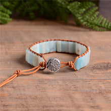 Load image into Gallery viewer, Bohemia Bracelet Amazonite Single Vintage Leather Wrap Bracelet Semi Precious Stone Beaded Cuff Bracelet  Drop shipping