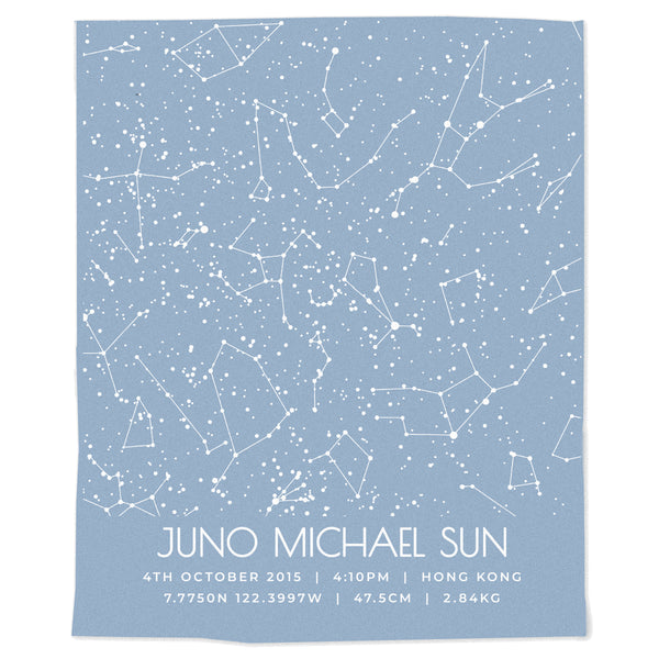 Star Map Birth Announcement Blanket