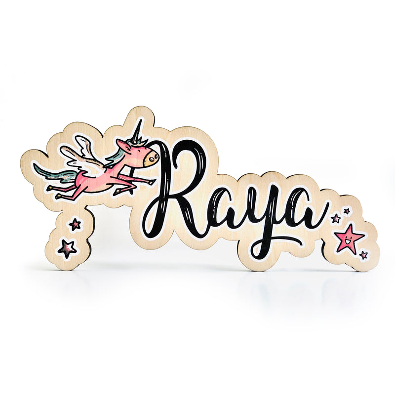 Flying Unicorn Colored Name Sign